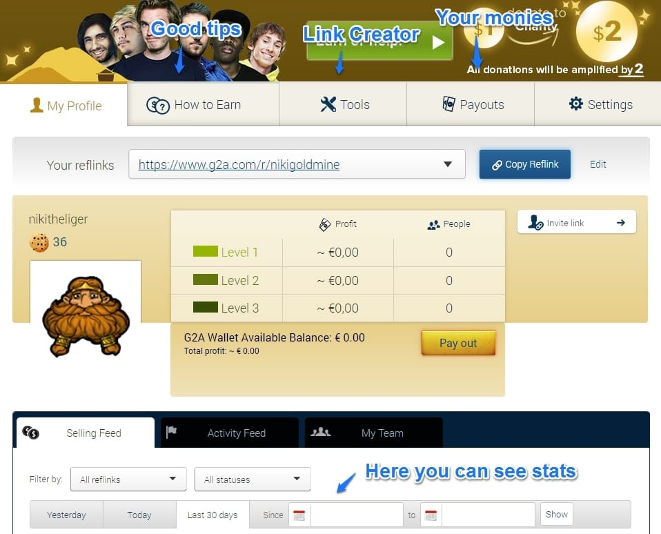 your profile in g2a goldmine