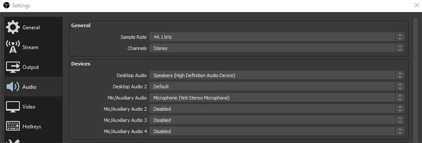 OBS Audio Settings