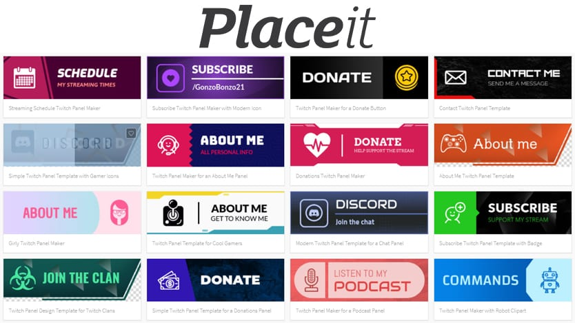 placeit twitch panel maker