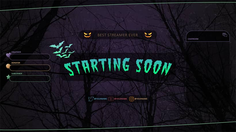 Halloween Overlays and Alerts for Twitch, Facebook and YouTube gael level halloween overlay pack