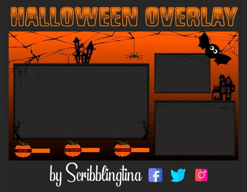 Halloween Overlays and Alerts for Twitch, Facebook and YouTube scribblingtina halloween pack